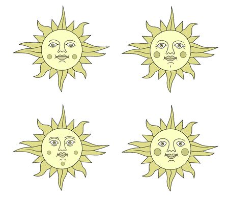 Set of images of the sun with the face of a young woman and the face of an old woman. Emotions. Retro and folk style.