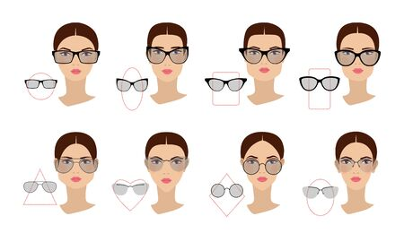 Female glasses shapes in accordance with the shape of the face. Eight Face shapes with options for spectacle frames on a white background. Flat design. Reklamní fotografie