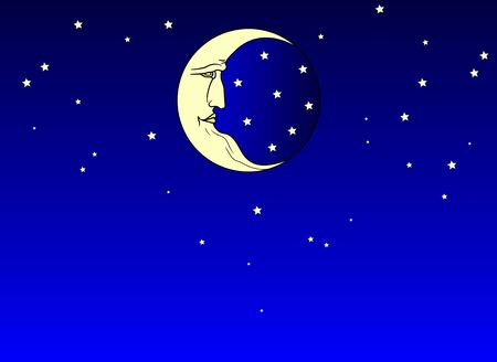 Fantastic starry sky for background and the moon with the face of an old man. Retro and folk style. Flat design