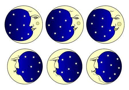 Set of images of the moon with the face of a young man and the face of an old man. Emotions. Retro and folk style.