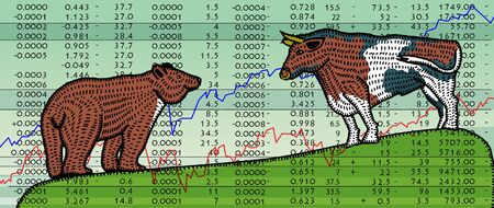 Bear and a bull on the background of the charts of stock exchange reports. Splint folk style.