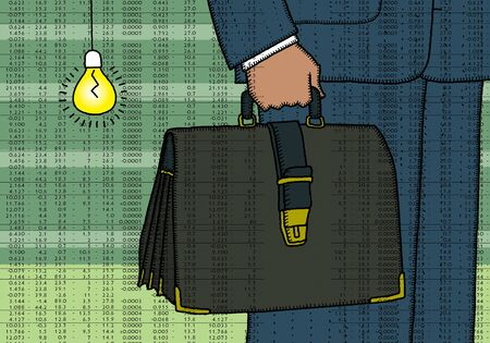 Man in a suit with a briefcase on the background of of stock reports. Splint folk style. Reklamní fotografie