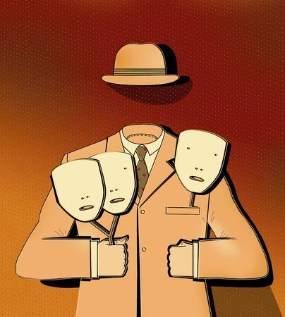 Man without a face holds 3 masks in his hands. Classic suit and bowler hat of a businessman. Surreal Image
