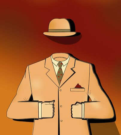 Classic suit and bowler hat of a businessman. Surreal Image