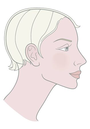 Blonde Girl with a short haircut and a beautiful skull. Template. Vector image