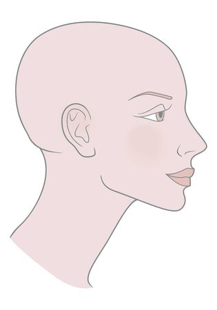 Bald Hairless Profile of a girl with a beautiful skull. Shaved skull. Vector image.