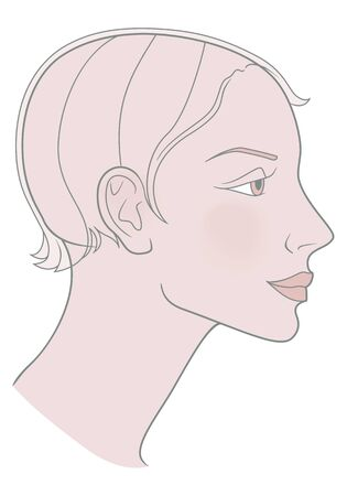 Girl with a short haircut and a beautiful skull. Template. Vector image
