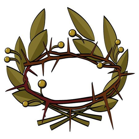 Laurel and thorny wreath. Glory and trials. Vector image