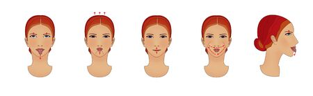 Anti-aging and facial wrinkles. Girl does exercises movements of the lips and jaw. Banco de Imagens