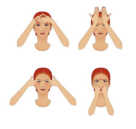 Anti-aging and facial wrinkles. Girl does exercises movements for the eyes and forehead.