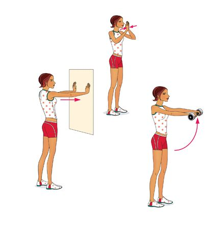 Girl trains the muscles of the chest against the wall and with dumbbells. Illustration
