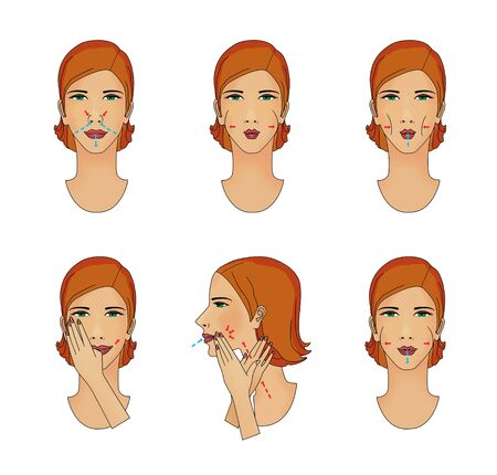 Breathing exercises and massage facial muscles. Young woman struggling with age