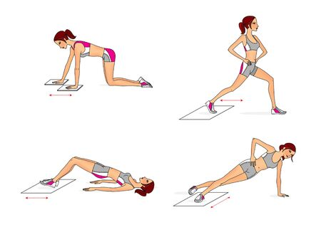 Young woman trains at home using towels. Exercises for the press and buttocks Stock fotó