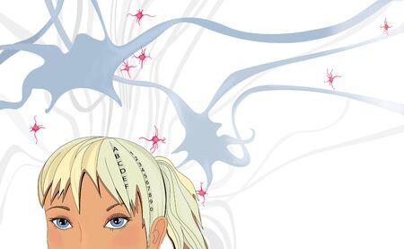 Blonde girl and her neural network. Humorous illustration. Illustrative background