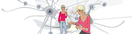 Blonde girl and her neural network. Girl with knitting in hands. Humorous illustration. Illustrative background