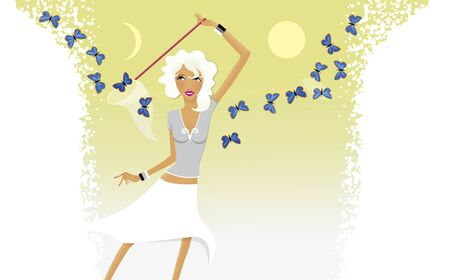 Horoscope chic ladies. Aries girl catches a butterfly net of blue butterflies.