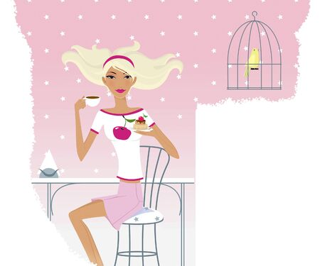 Horoscope chic ladies. Taurus girl at a table in a cafe. Canary in a cage