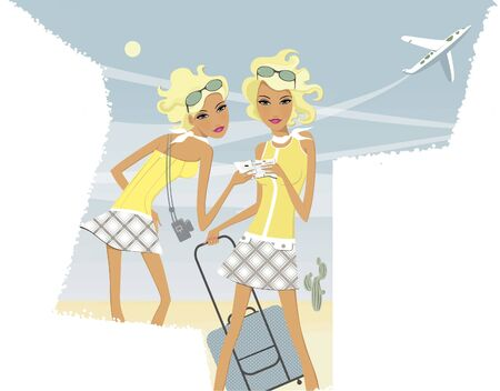 Horoscope chic ladies. Gemini. Two twin girls with one ticket and a travel suitcase. Airplane in the sky.