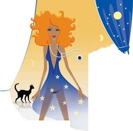 Horoscope chic ladies. Red-haired female lion with a magical crystal. Black cat gnaws on its own