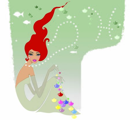 Horoscope chic ladies. Red-haired woman Pisces in an elegant dress under the water playing with fish scales. Stock fotó
