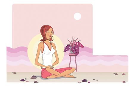 Sitting girl at sunset meditates and calms down. Against the backdrop of waves and sun.