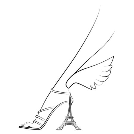 Elegant female foot in shoes with wings and a heel in the form of the Eiffel Tower. Paris. Line graphics. Vector illustration. Isolated on a white background