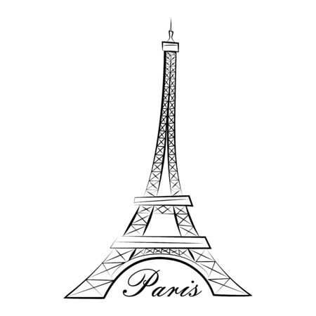 Eiffel Tower. Paris. Line graphics. Vector illustration. Isolated on a white background