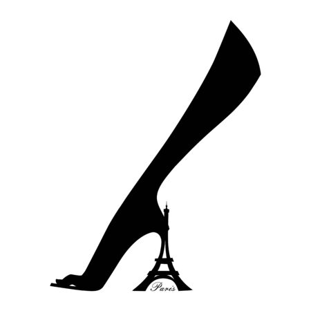 Elegant female foot in shoes with а heel in the form of the Eiffel Tower. Paris. Line graphics. Vector illustration. Isolated on a white background Ilustracja