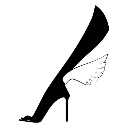 Elegant female foot in shoes with wings. Silhouette graphics. Vector illustration. Isolated on a white background Illustration