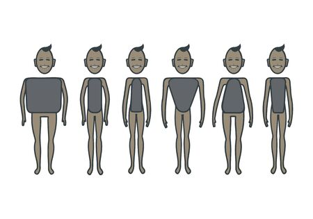 Male body figures.  Male body shapes set. Vector cartoon illustration