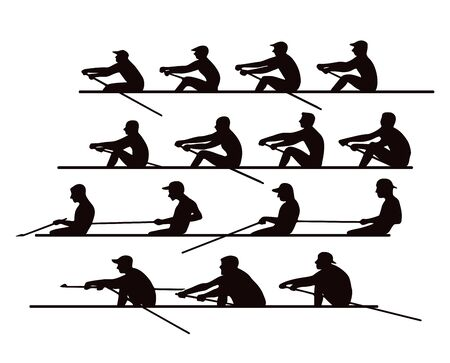 4 équipes de rameurs en barques et canoës pour la course. Silhouette. Illustration vectorielle Vecteurs