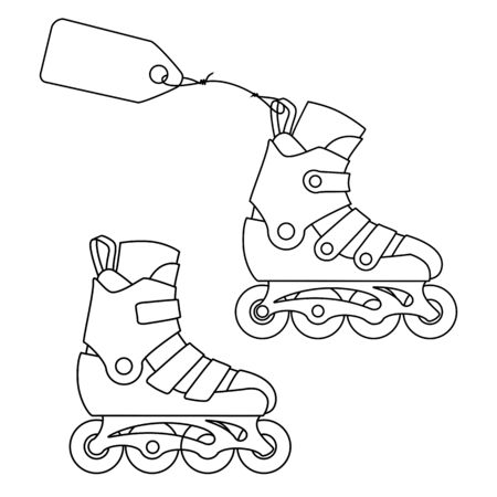 Roller skates with a label. Line drawing.