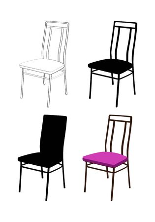 Four old-fashioned chairs. Silhouette and linear graphics illustration. Isolated on a white background Imagens