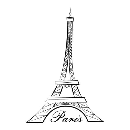 Eiffel Tower. Paris. Line graphics illustration. Isolated on a white background Imagens