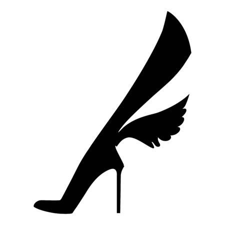 Elegant female foot in shoes with wings. Silhouette graphics illustration. Isolated on a white background Фото со стока