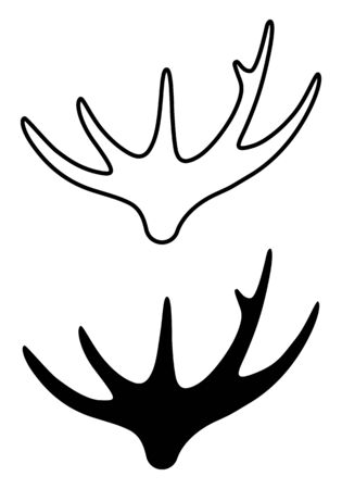 Sign of a moose horn. Linear and silhouette. Imagens