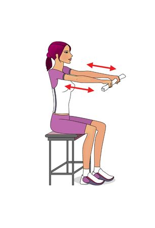 Workout at home - arms. Girl exercises sitting. Isolated on a white background