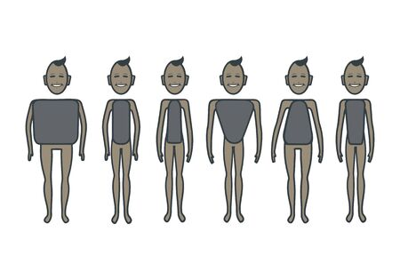 Male body figures.  Male body shapes set. Cartoon illustration