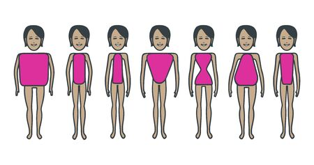 Female body figures.  Female body shapes set. Cartoon illustration