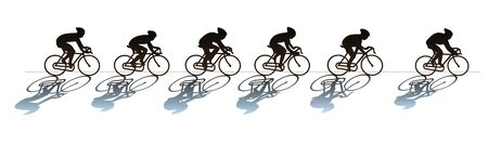 Group of cyclists at the race. Silhouette. Illustration isolated on white background Imagens