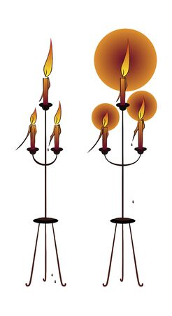 Floor candlestick for 3 burning candles. Accessory for Christmas or Halloween. Line drawing. Illustration