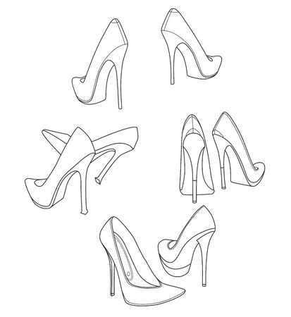 4 pairs of graceful stiletto high heel women shoes. Line drawing. Illustration Imagens