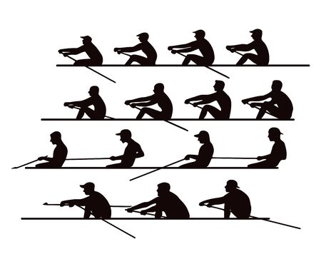 4 teams of rowers in boats and canoes for the race. Silhouette. Illustration