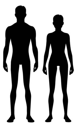 Male and female body silhouette. Isolated perfect image symbols man fnd woman on white background. Vector illustration.