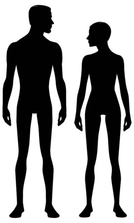 Male and female body silhouette with head in profile. Isolated perfect image symbols man and woman on a white background. Vector illustration