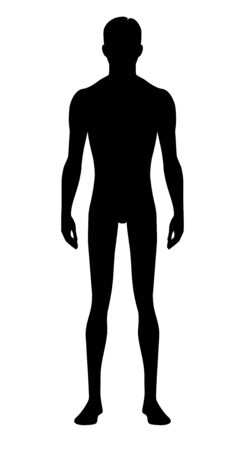 Male body silhouette. Isolated perfect image symbols man on white background. Vector illustration. Ilustração