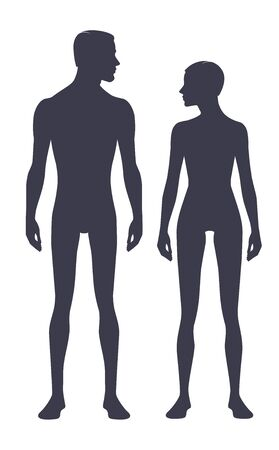 Male and female body silhouette with head in profile. Isolated perfect image symbols man and woman on a white background. Illustration Standard-Bild - 133354402