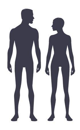 Siluetta del corpo maschile e femminile con testa di profilo. Simboli immagine perfetta isolata uomo e donna su uno sfondo bianco. Illustrazione