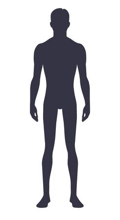 Male body silhouette. Isolated perfect image symbols man on white background. Illustration.