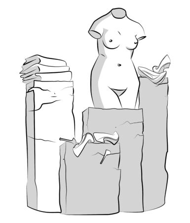 Statue of Venus on a pedestal. Broken shoes and clothes. Nothing to wear. Humorous illustration. Stockfoto